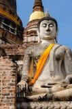 Старая скульптура Будды на Ayutthaya Стоковое фото RF