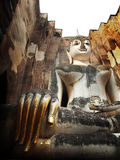 Старая скульптура в пагоде Sukhothai Таиланде Стоковые Фотографии RF