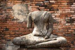 Старая скульптура в Ayutthaya Стоковая Фотография