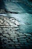 Старая сломанная улица NYC булыжника Стоковые Фотографии RF