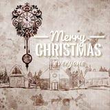 Старая смотря нарисованная рукой ретро поздравительная открытка рождества усадьбы Стоковые Изображения RF