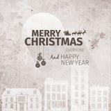 Старая смотря нарисованная рукой ретро поздравительная открытка рождества усадьбы Стоковая Фотография