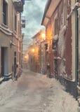 Старая снежная улица Стоковая Фотография