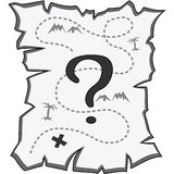 Старая сорванная карта при изолированный вопросительный знак, светотеневой, иллюстрация штока