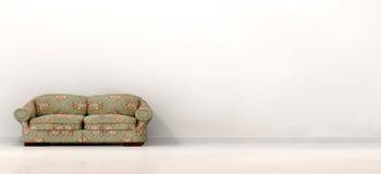 Старая софа в пустой белой комнате Стоковые Изображения RF