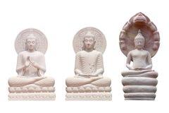 Старая статуя Будды сделанная из изолированного песчаника на белизне стоковые изображения