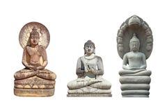 Старая статуя Будды сделанная из изолированного песчаника на белизне стоковая фотография rf