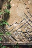 Старая стена с деревянной сеткой решетины Граница с нижней планкой Стоковые Изображения RF