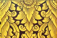 Старая тайская картина на стене в виске Будды Стоковое Фото
