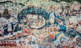 Старая тайская стенная роспись стиля Lanna жизни Будды стоковое фото rf