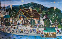Старая тайская стенная роспись стиля Lanna фестиваля Loy Kratong стоковая фотография rf