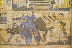 Старая тайская стенная роспись Isan Стоковое фото RF