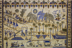 Старая тайская стенная роспись Isan Стоковые Изображения RF