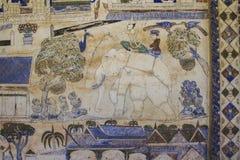 Старая тайская стенная роспись Isan Стоковое Изображение RF