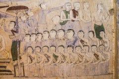 Старая тайская стенная роспись Isan Стоковая Фотография RF