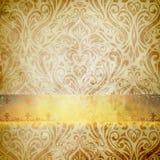 Старая текстура бумаги grunge и винтажный флористический орнамент Стоковое фото RF