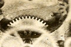 Старая текстура grunge стальных шестерней Макрос Sepia Стоковые Фотографии RF