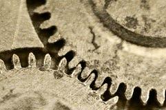 Старая текстура grunge стальных шестерней Макрос Sepia Стоковая Фотография RF