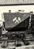 Старая тележка минирования в Spania Dolina, черно-белом Стоковое Фото