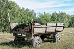 Старая тележка с почвой в поле Стоковые Изображения