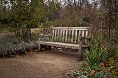 Старая уединенная деревянная скамья на парке на холодном вечере осени стоковое изображение