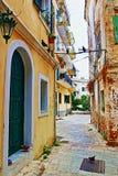 Старая улица Корфу Греция городка Стоковое Фото