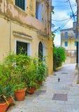 Старая улица Корфу Греция городка Стоковая Фотография RF
