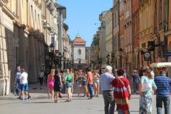Старая улица Кракова Стоковая Фотография