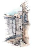старая улица иллюстрация штока