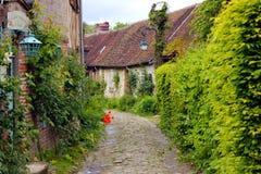 Старая улица gerberoy с зеленой природой стоковые фото