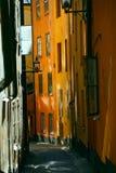 старая улица stockholm Стоковая Фотография RF