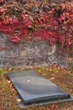 Старая усыпальница в кладбище осени стоковое изображение rf