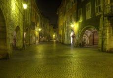 Старая улица в Анси, Франции Стоковое Изображение RF
