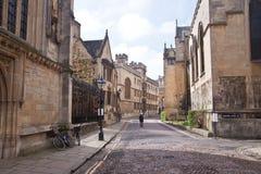 Старая улица в Оксфорде, Англии, Великобритании Стоковое Изображение RF