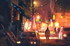 Старая улица в футуристическом городе на ноче с красочным светом Стоковая Фотография RF