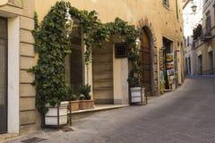 Старая улица в Pienza, Тоскане, Италии Стоковое Изображение RF