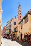 Старая улица городка Корфу, Kerkyra, Греции Стоковое Фото
