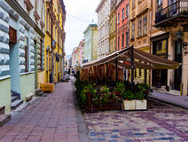 Старая улица городка, Львов Стоковая Фотография RF