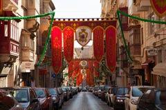 Старая улица хлебопекарни, Валлетта, Мальта Стоковое Фото