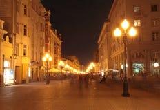 Старая улица Arbat в Москве к ноча Стоковое фото RF
