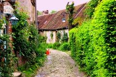 Старая улица gerberoy Франции стоковое изображение rf