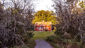 Старая фольклорная школа на Harstena в Швеции Стоковые Изображения RF