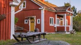 Старая фольклорная школа на Harstena в Швеции Стоковое Изображение RF