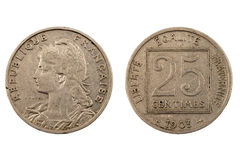 Старая французская монетка изолированная на белизне Стоковая Фотография RF