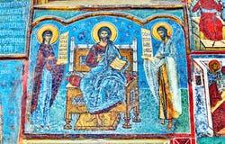 Старая фреска настенной росписи в Румынии Стоковые Изображения