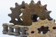 Старая цепь шестерни Стоковое Изображение