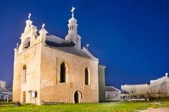 Старая церковь в замке на ноче Стоковые Фото