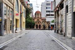 Старая церковь в улице Афин Стоковое фото RF