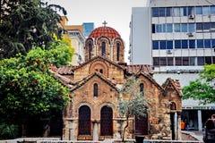 Старая церковь в улице Афин Стоковые Фотографии RF