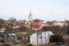 Старая церковь в Cesis, Латвии Исторические здания и город Стоковая Фотография RF